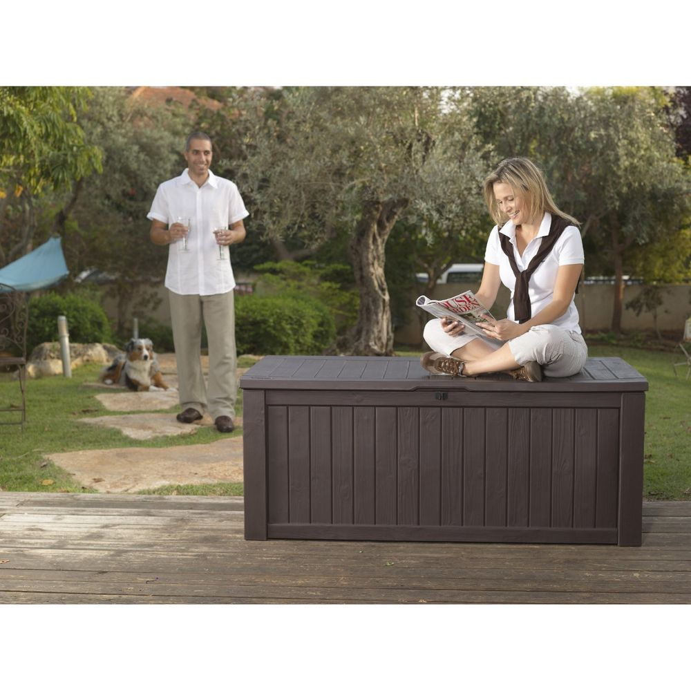 Image of: Black Outdoor Storage Box For Cushions