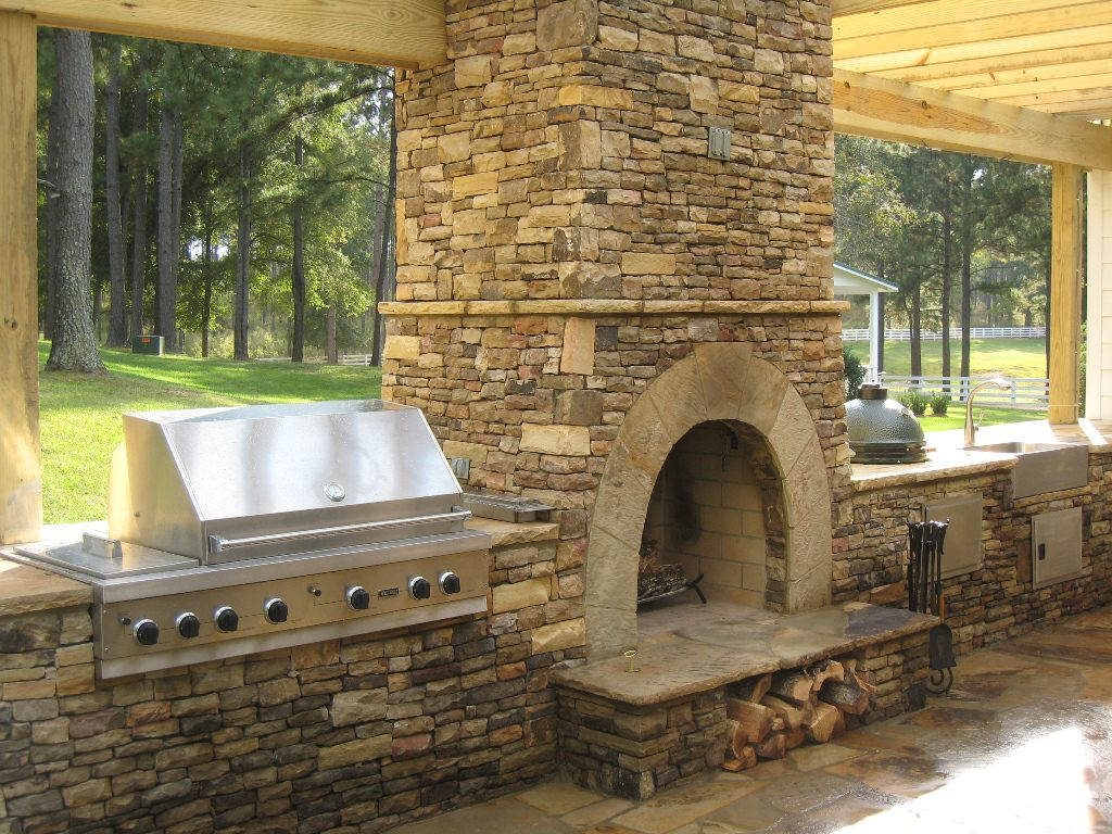 Image of: Contemporary Outdoor Fireplace Designs Kitchen