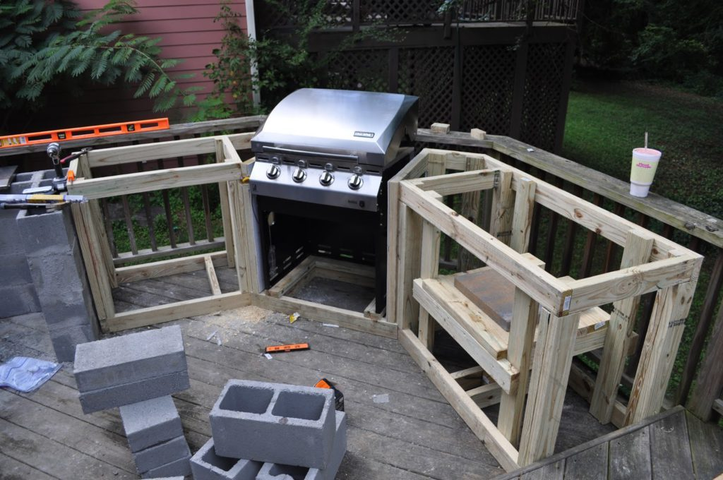 New Outdoor Kitchen With Freestanding Grill