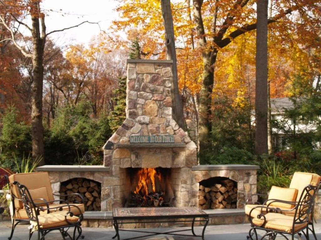 Image of: Stone Outdoor Fireplace Insert
