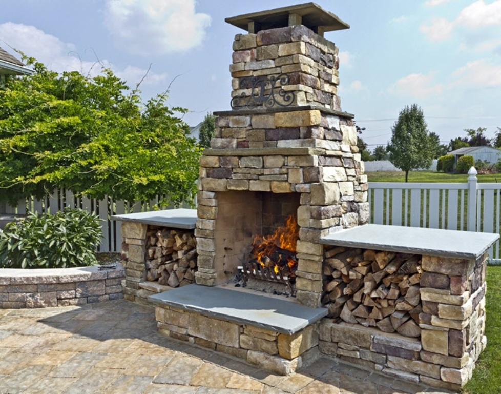Stone Veneer On Outdoor Fireplace