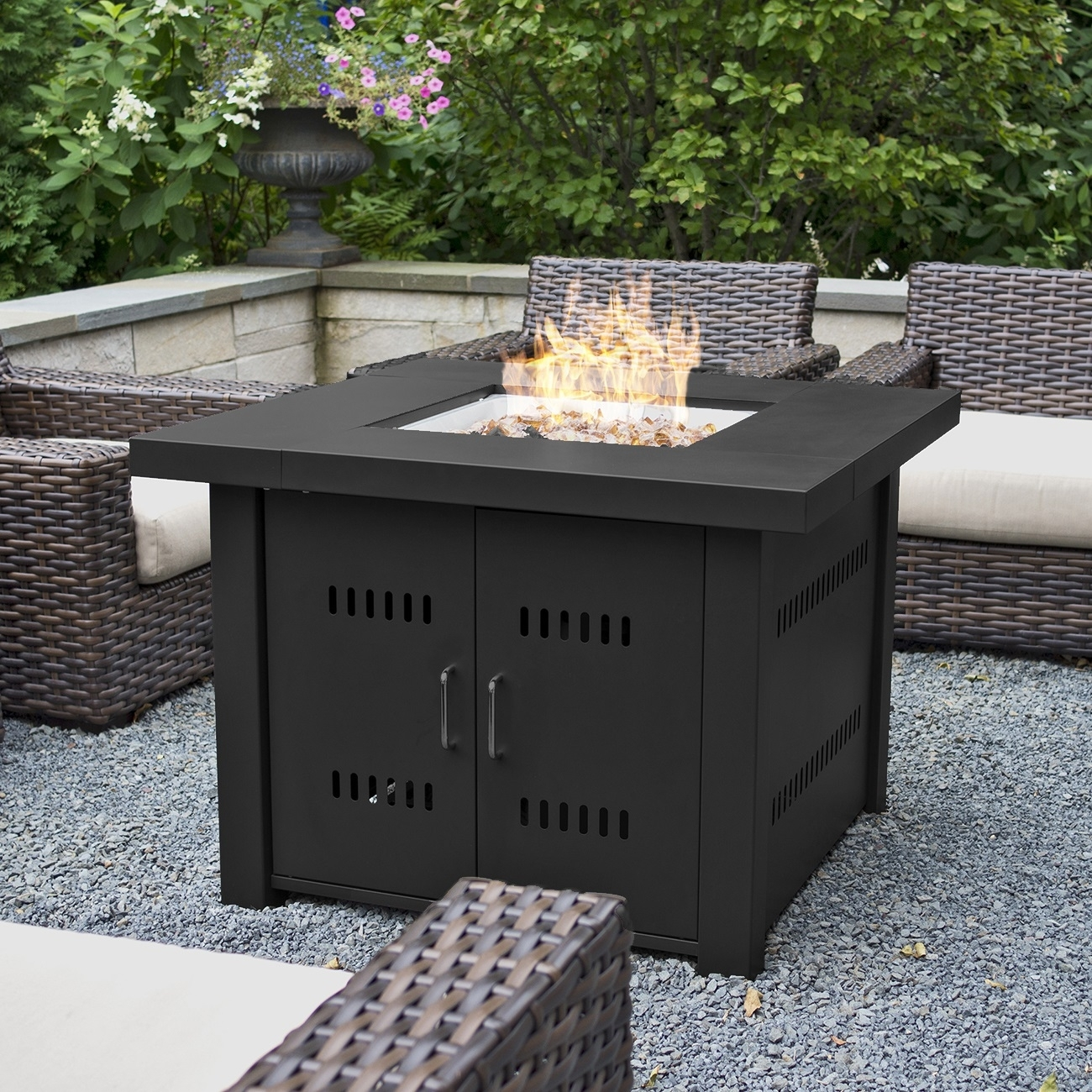 Image of: Belleze 40000btu Outdoor Patio Propane Gas Fire Pit Table W Fire Regarding Outdoor Fireplace Glass Rocks Be Warm All Year Round With Outdoor Fireplace Glass Rocks