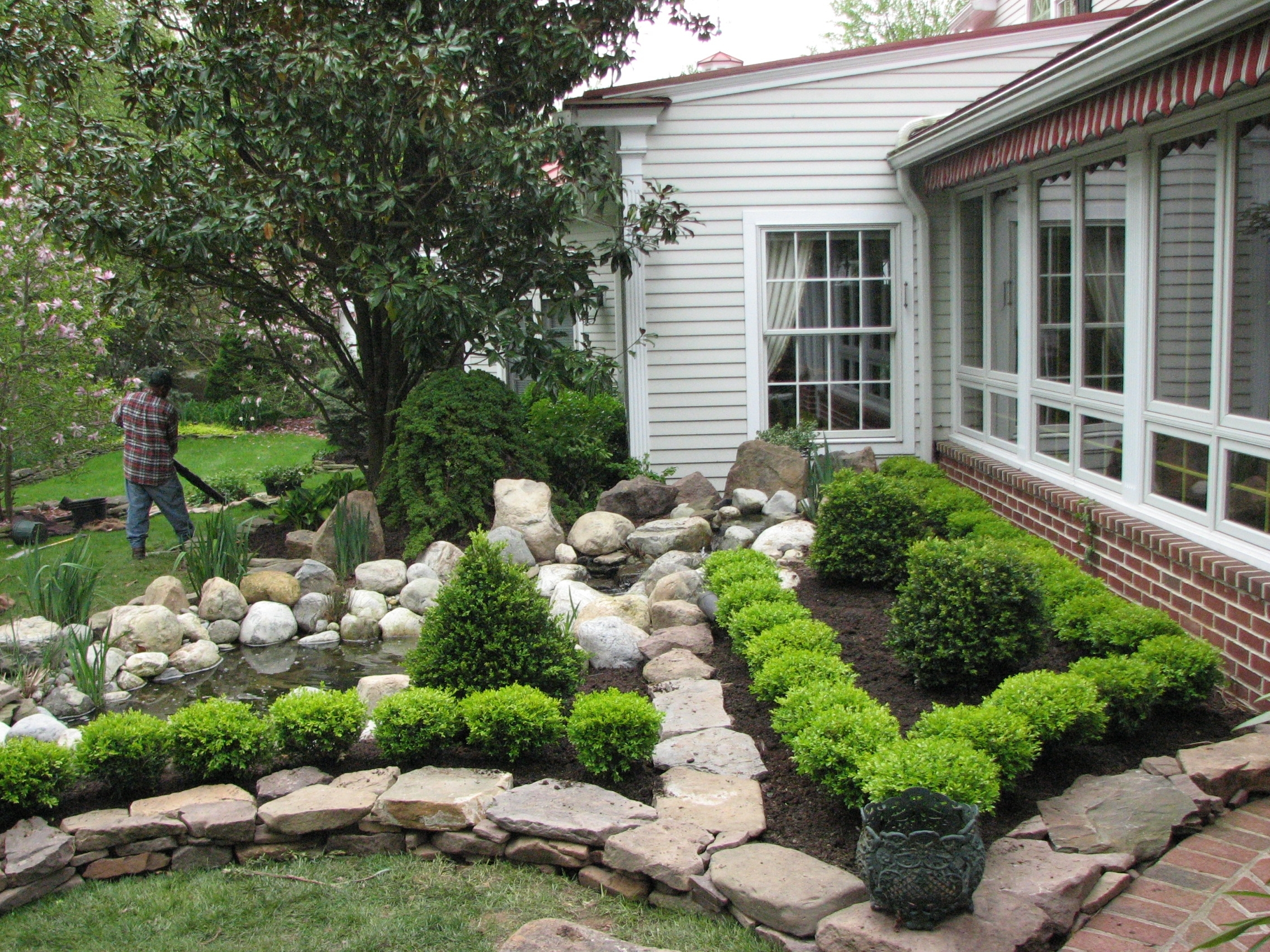Image of: Garden Ponds Stone Creek In Boxwood Landscaping Design Ideas