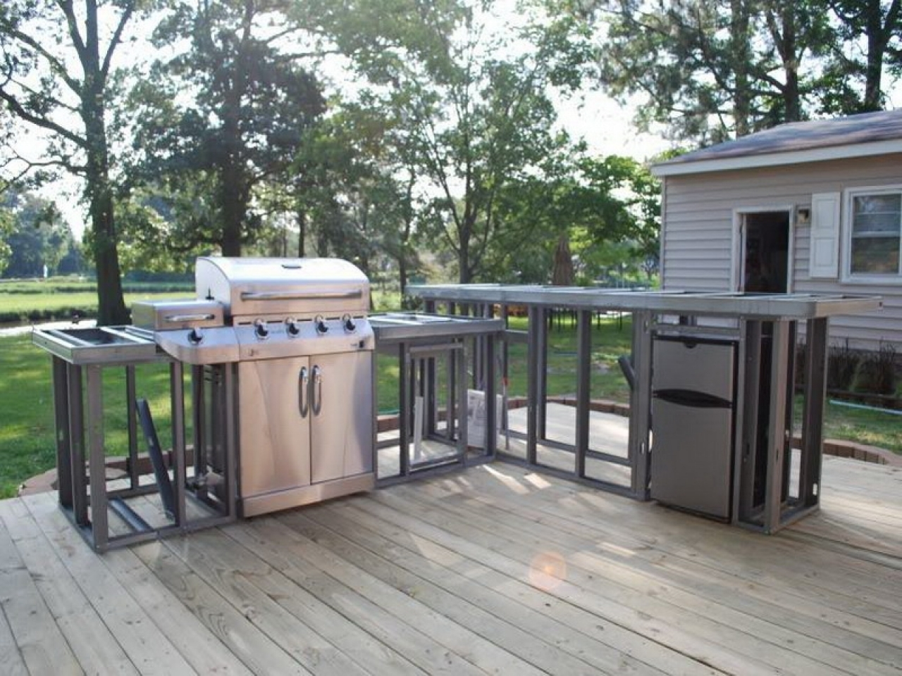 Image of: Home Decor How To Build An Outdoor Kitchen Plans Dining Benches Intended For Metal Frame Outdoor Kitchen Strong And Durable Metal Frame Outdoor Kitchen