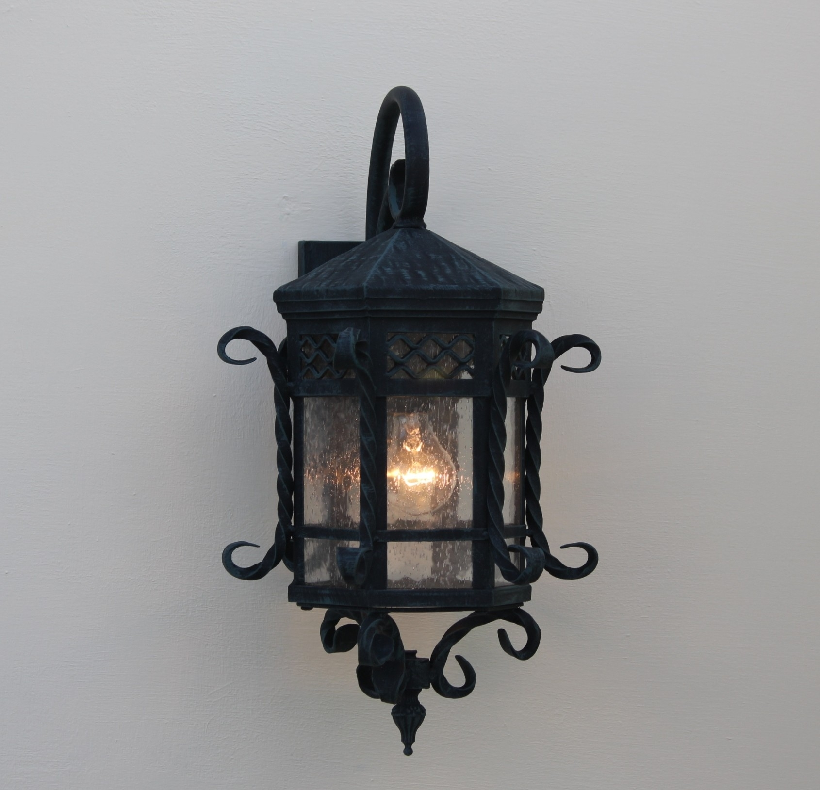 Image of: Spanish Santa Barbara Style Wrought Iron Outdoor Light Fixtures