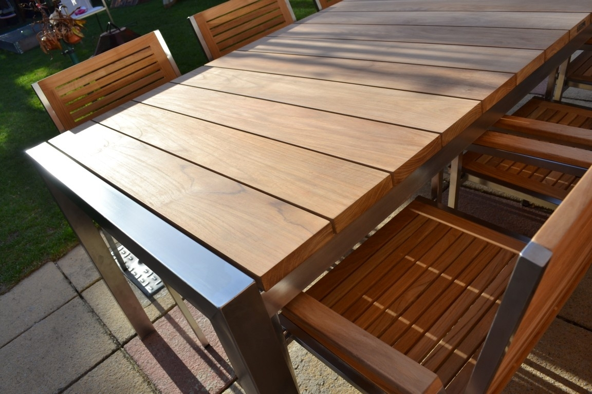 Image of: 8 Seater Teakstainless Steel Garden Set Nirvana In Modern Teak Outdoor Furniture How To Care Modern Teak Outdoor Furniture