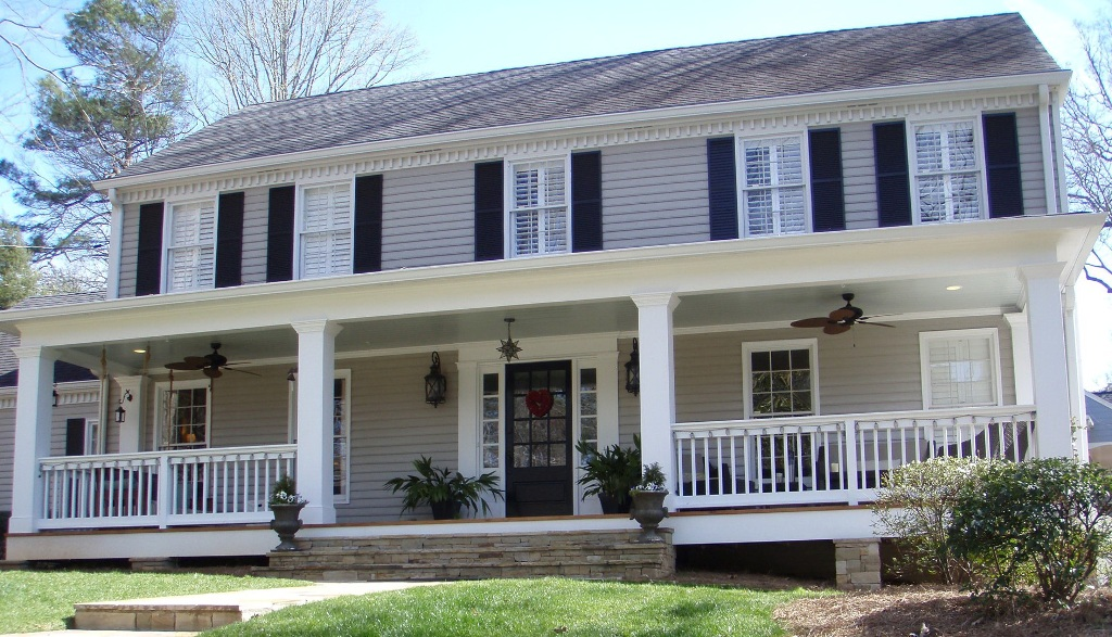 Image of: Adding A Front Porch To A Colonial Cost