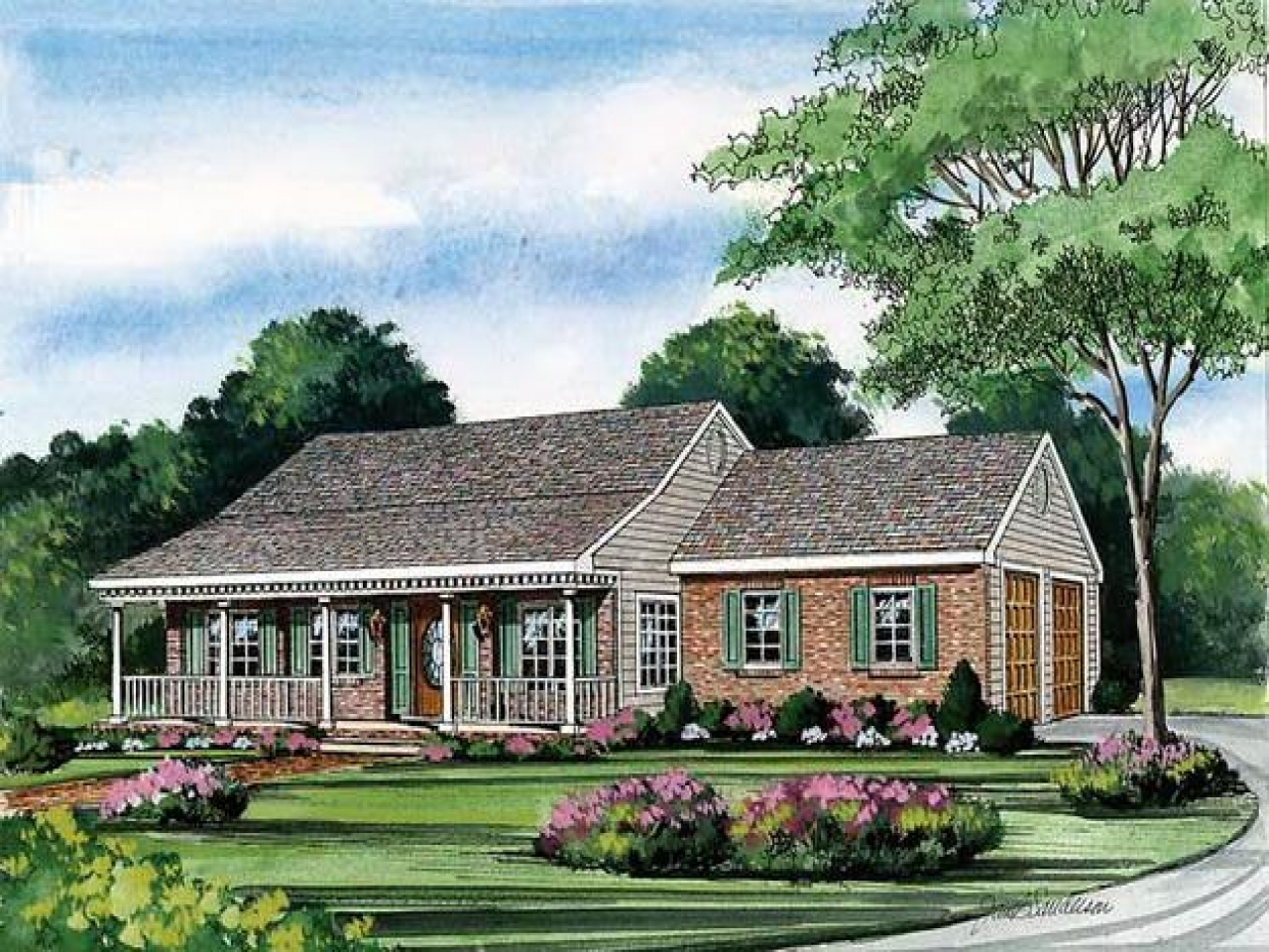 Image of: Awesome One Story House Plans With Wrap Around Porch