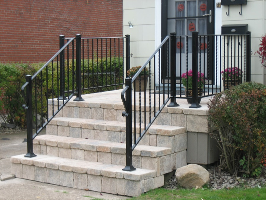 Image of: Black Aluminum Porch Railings