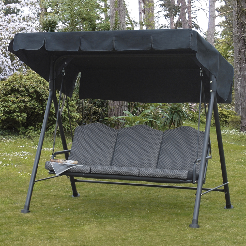 Image of: Black Glider Porch Swing