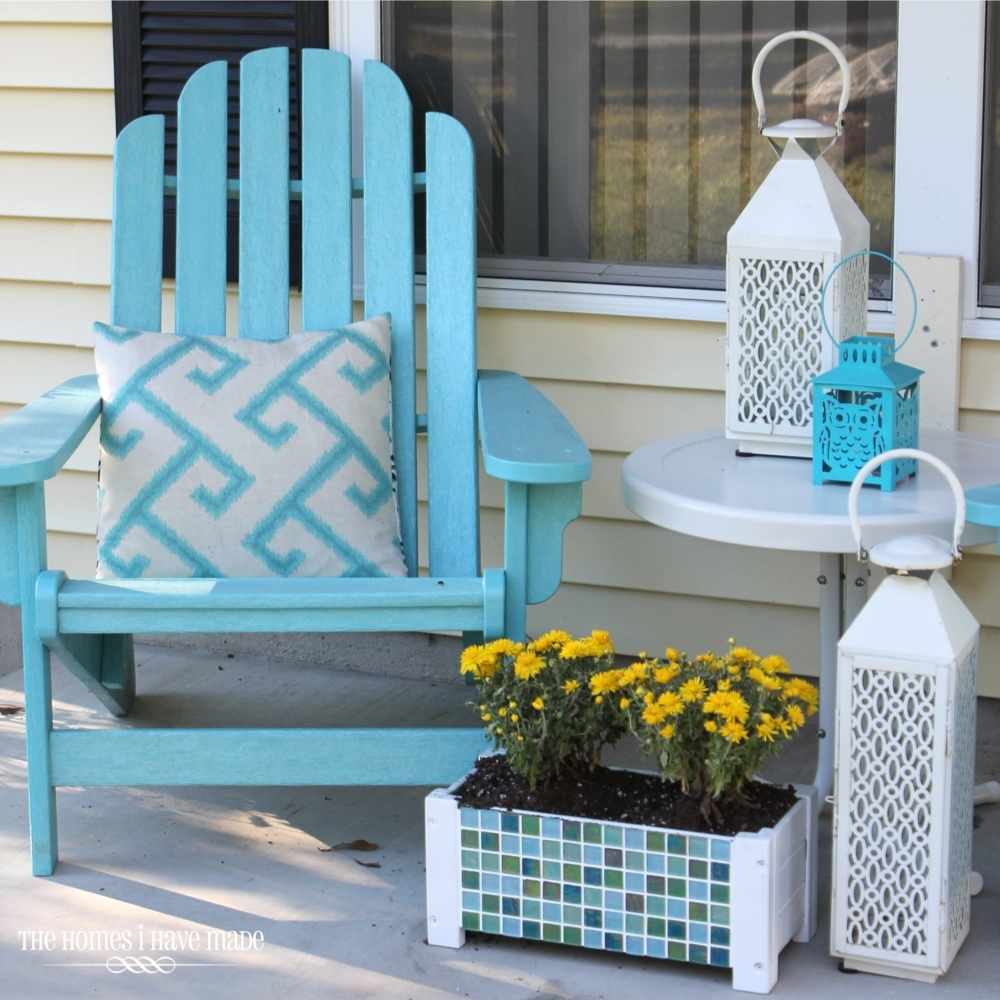 Image of: Blue Front Porch Benches