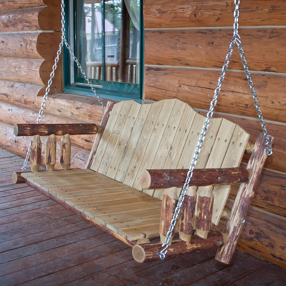 Image of: Cedar Log Porch Swing