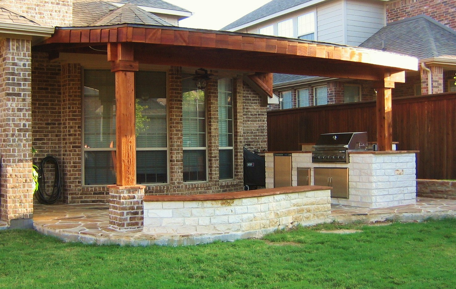 Image of: Cedar Porch Posts Covered