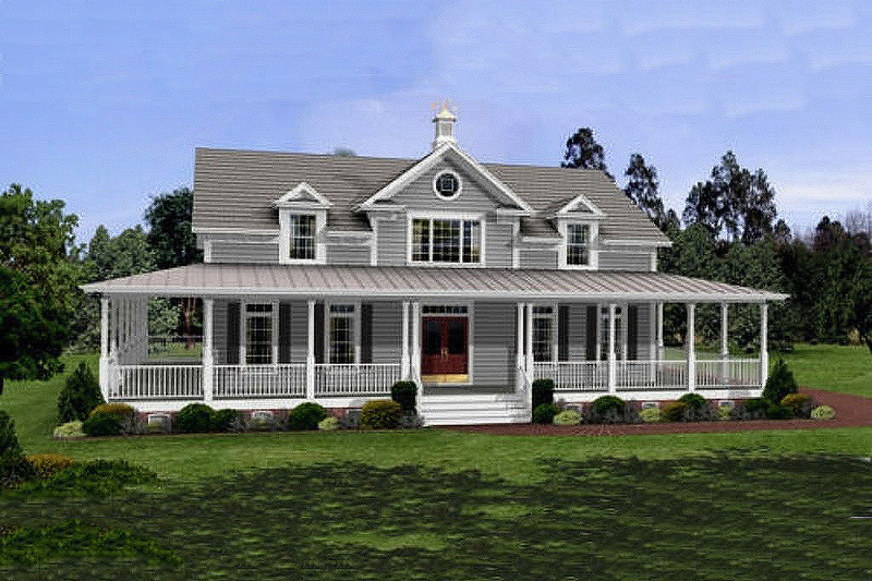 Image of: Country House Plans With Wrap Around Porch Beautiful