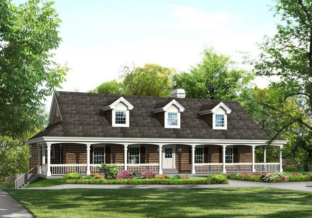 Country House Plans with Wrap around Porch Cottage