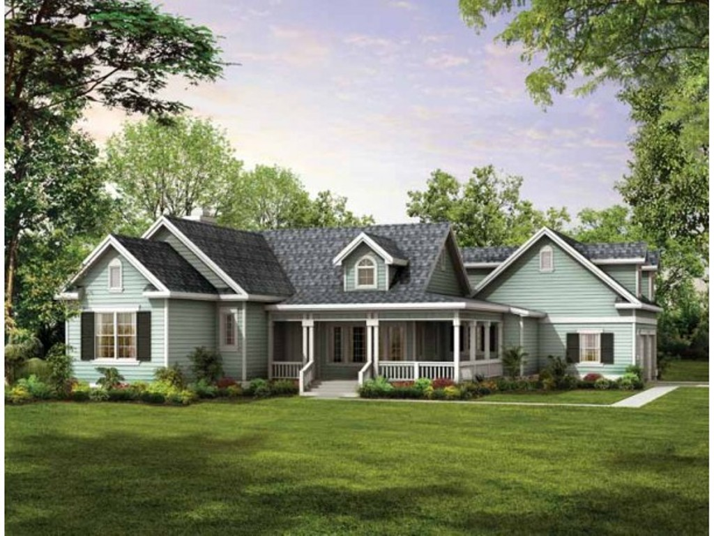 Image of: Country House Plans With Wrap Around Porch Large