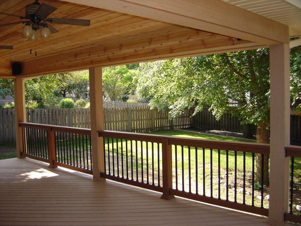 Image of: Covered Back Porch Wood