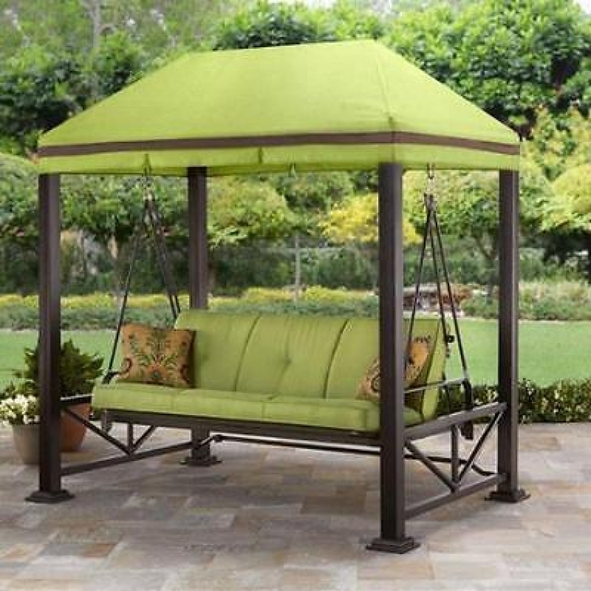 Image of: Covered Porch Swing Iron