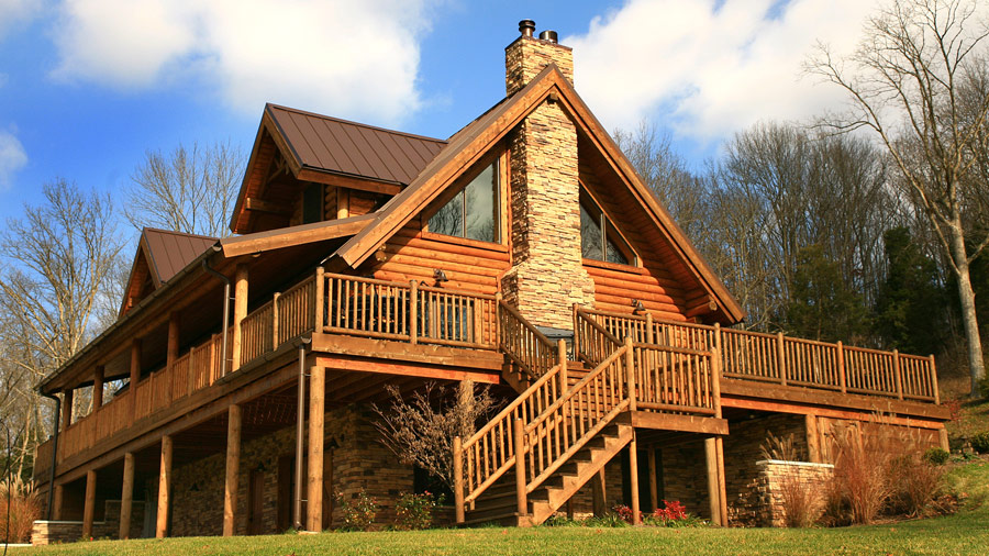Image of: Cozy Log Cabin With Wrap Around Porch