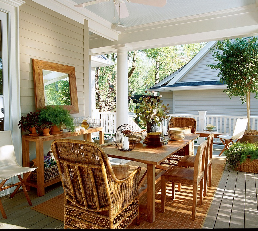 Image of: Cpmpact Front Porch Decorating
