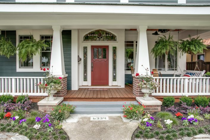 Exterior Porch Columns and Plants