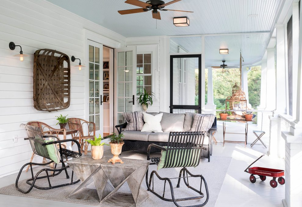Farmhouse Porch Lights With Outdoor Seating