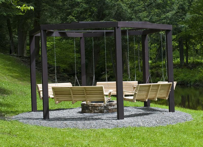 Image of: Free Standing Porch Swing And Fireplace