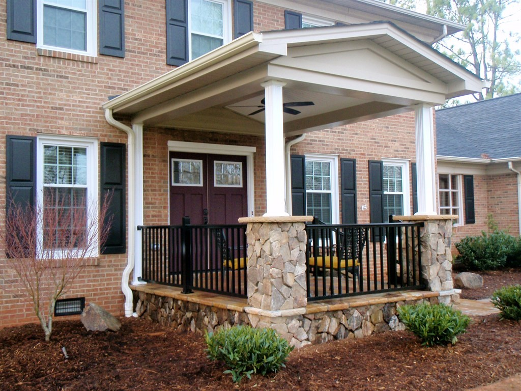 Image of: Front Black Porch Railing