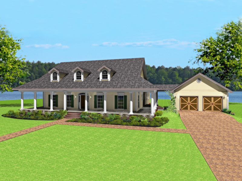 Front One Story House Plans with Wrap Around Porch