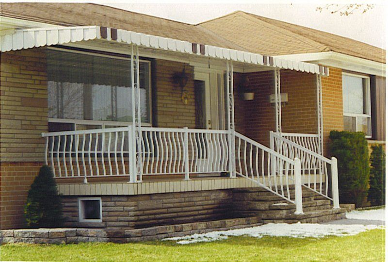 Image of: Front Porch Awning Stairs