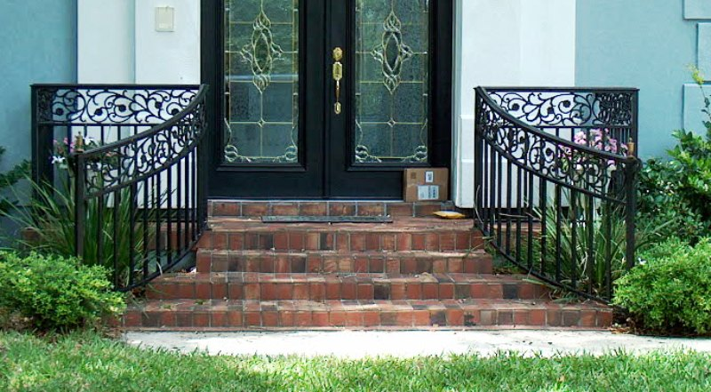 Image of: Front Porch Handrails Iron