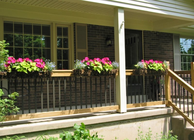 Image of: Front Porch Handrails And Plants