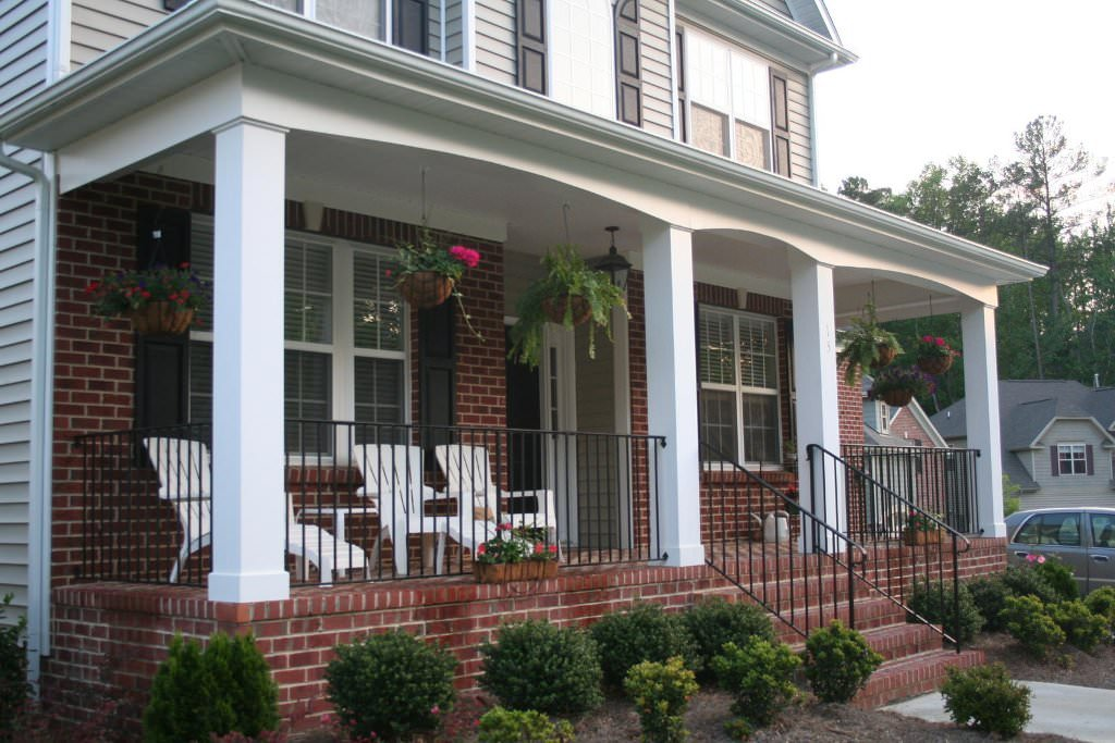 Image of: Front Porch Plans White