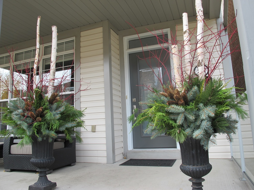 Image of: Front Porch Planters Winter