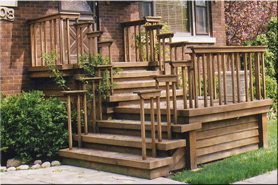 Image of: Front Porch Steps Wood