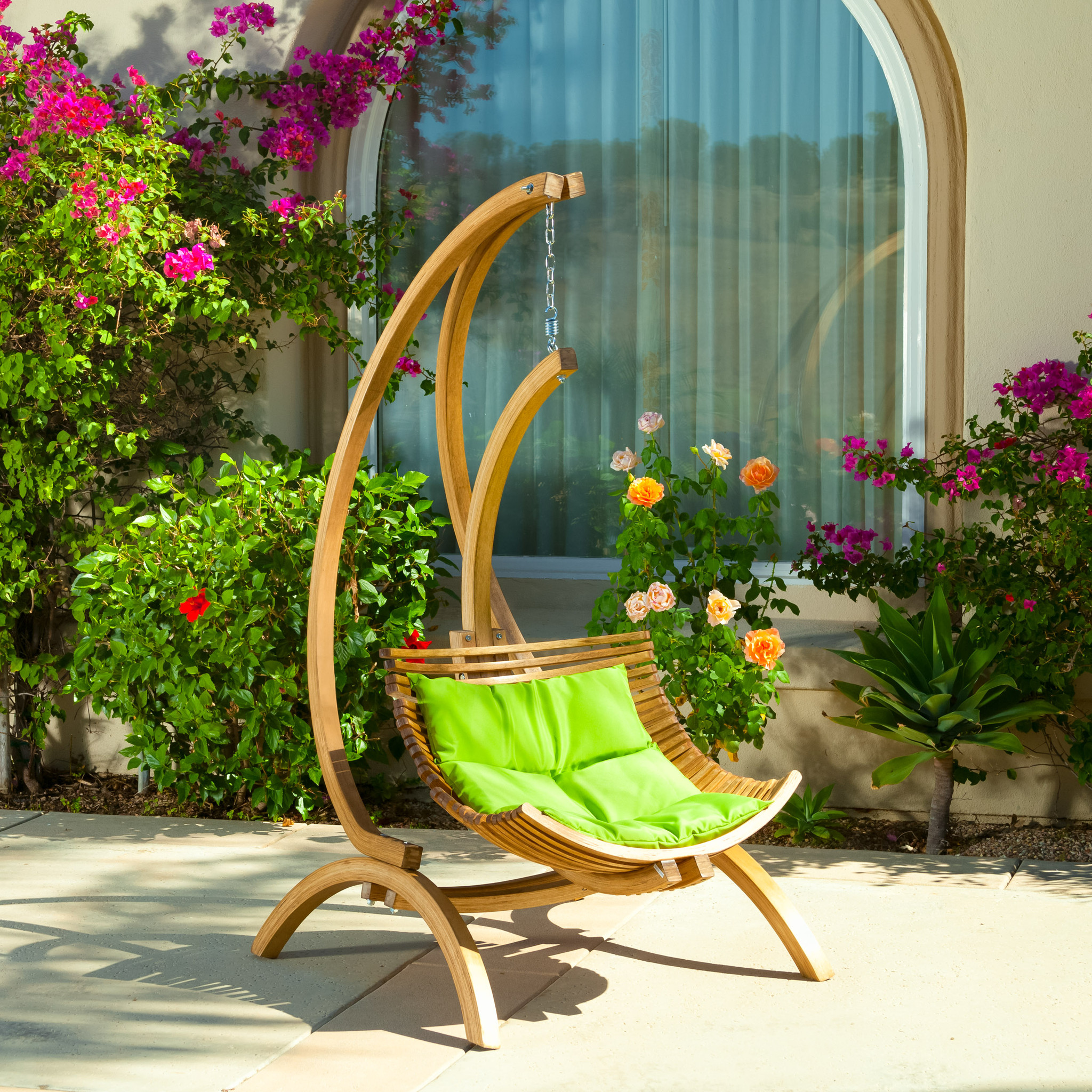 Image of: Green Hanging Porch Chair