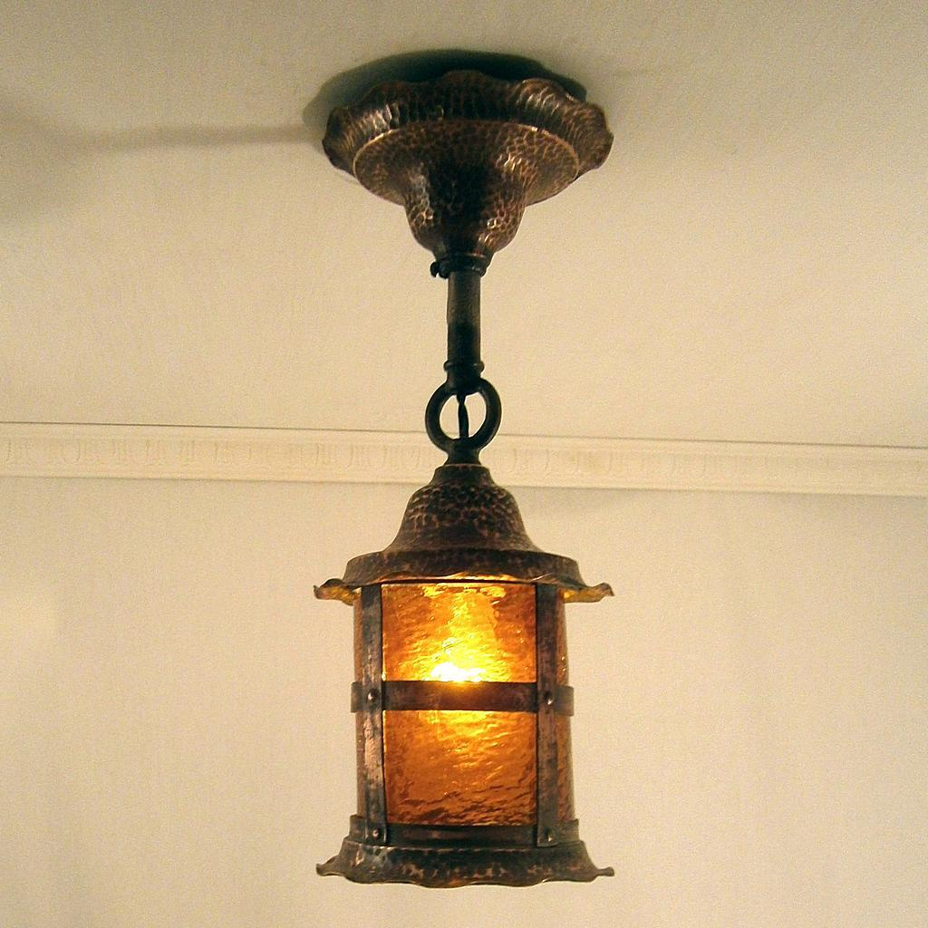 Image of: Hammered Copper Porch Light
