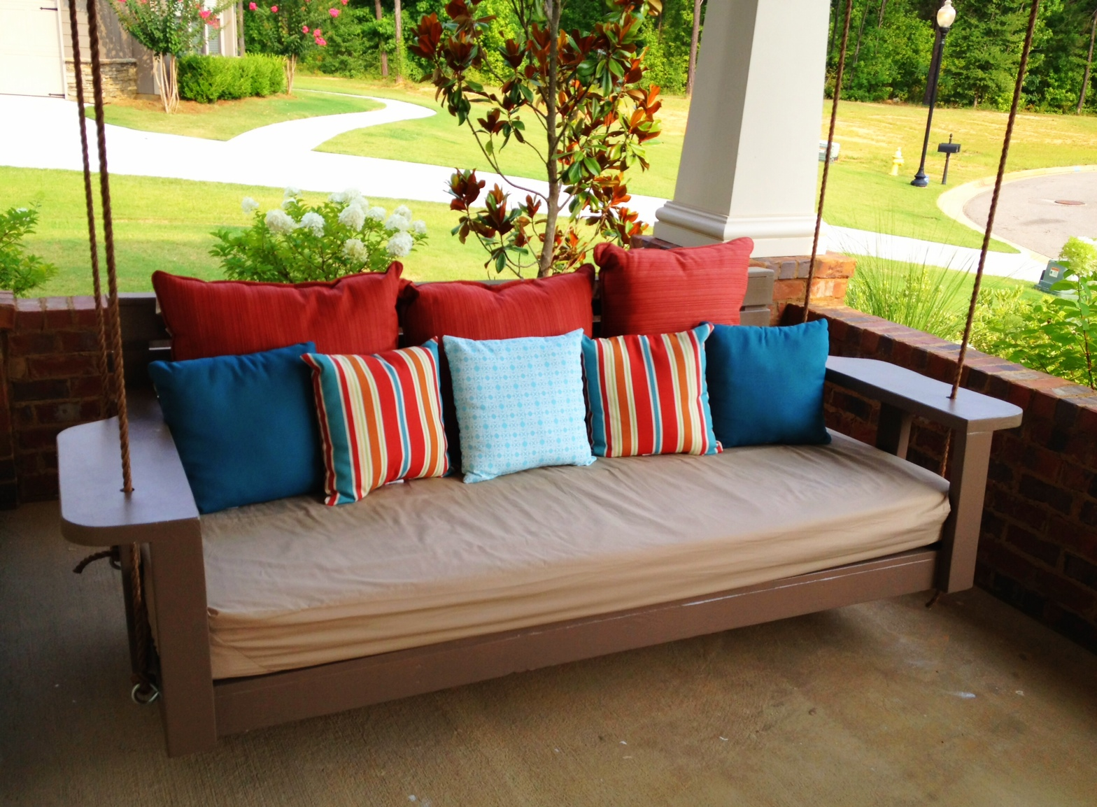 Image of: Hanging Porch Swings And Pillows
