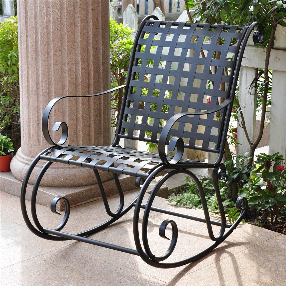 Image of: Iron Front Porch Rocking Chairs