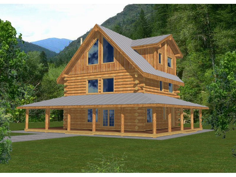 Image of: Log Cabin With Wrap Around Porch Plans