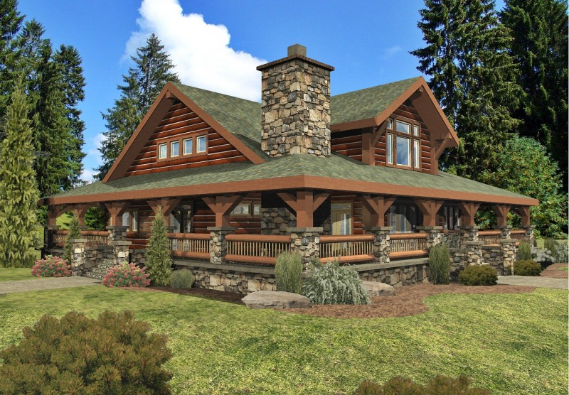 Log Cabin with Wrap around Porch Roof