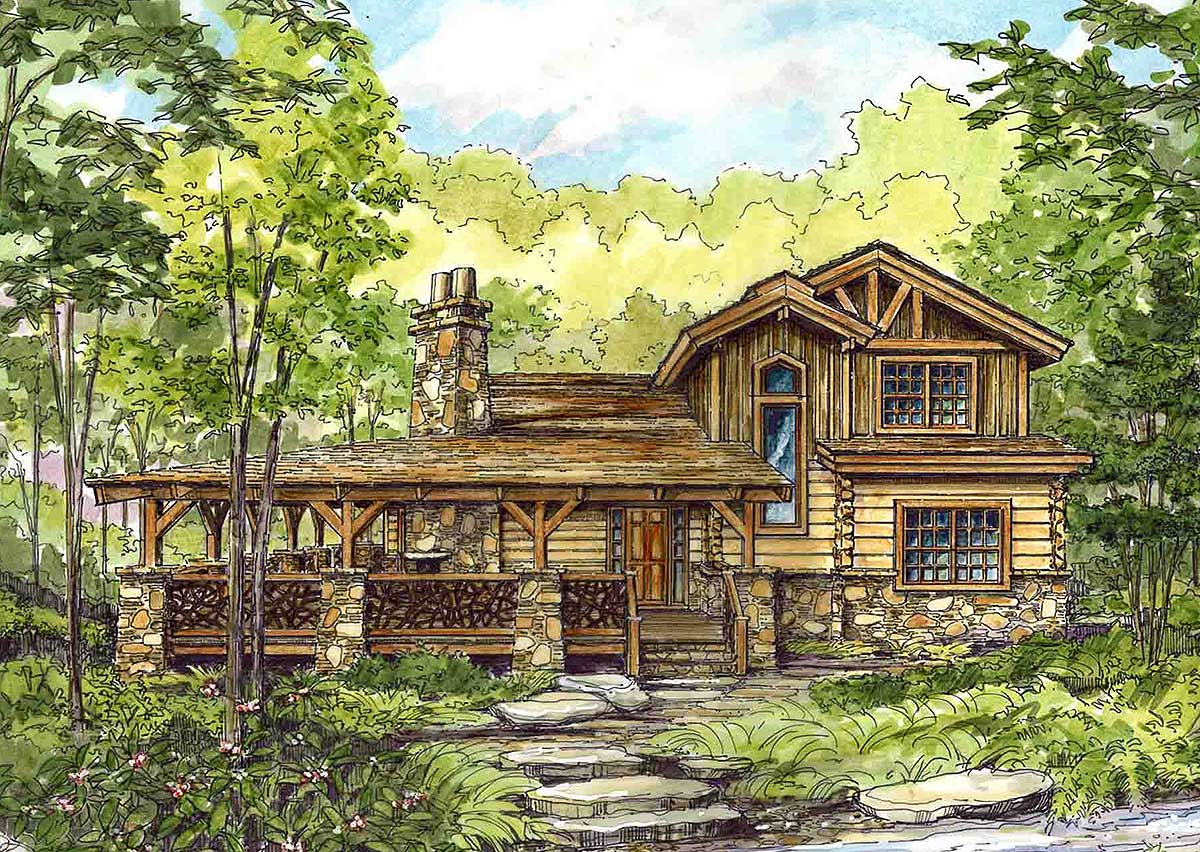 Image of: Log Cabin With Wrap Around Porch
