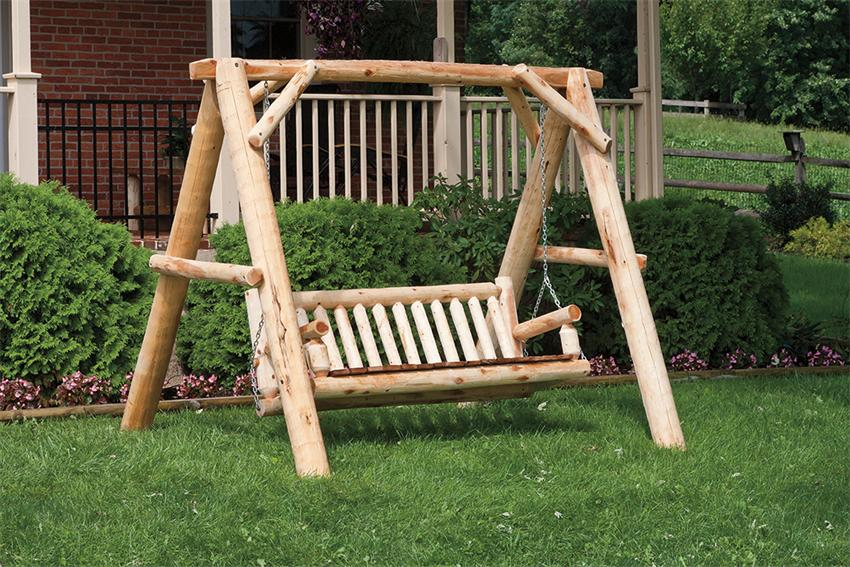Image of: Log Porch Swing Design