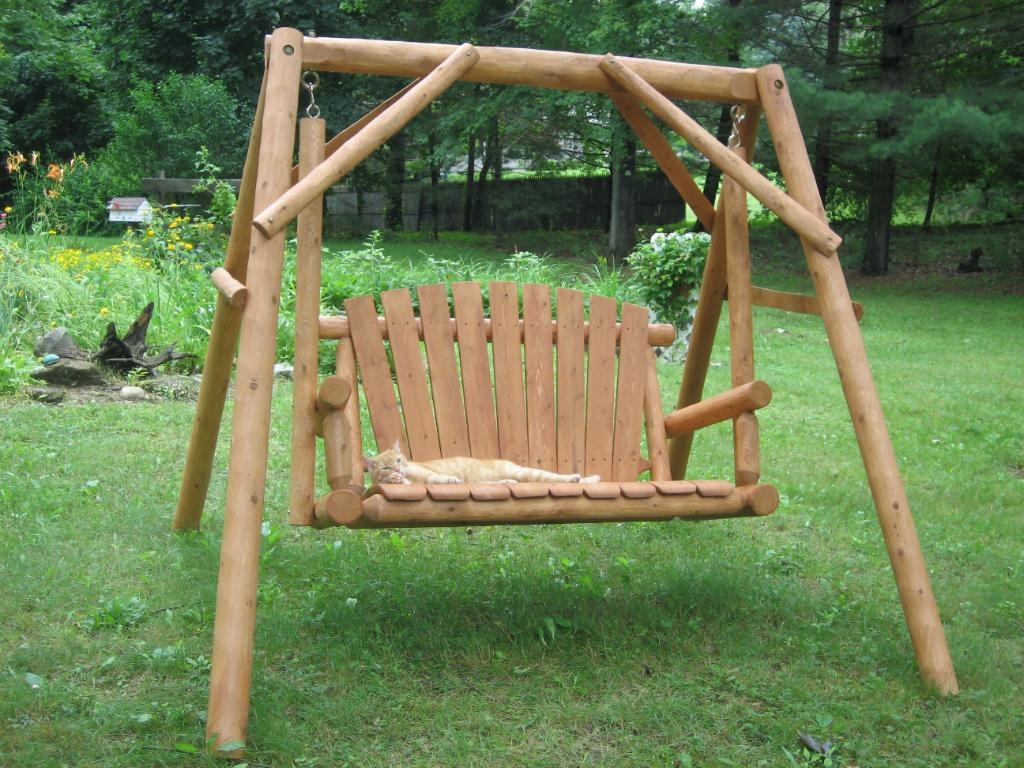 Image of: Log Porch Swing Plans