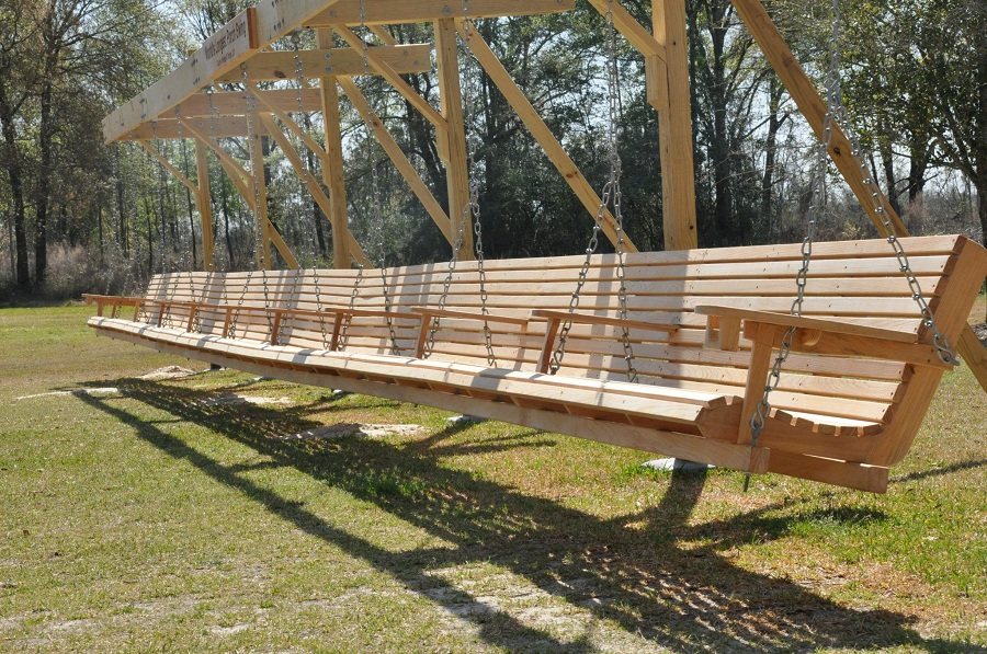 Image of: Long Cypress Porch Swing