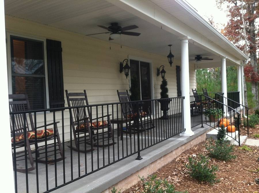 Image of: Metal Front Porch Railings