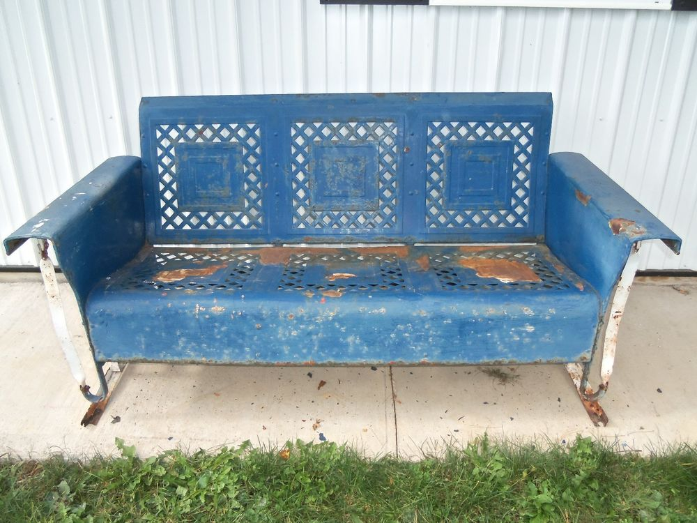 Image of: Metal Porch Glider Vintage