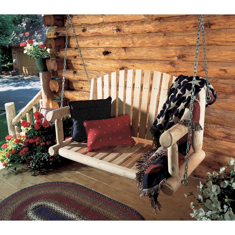 Image of: Natural Log Porch Swing
