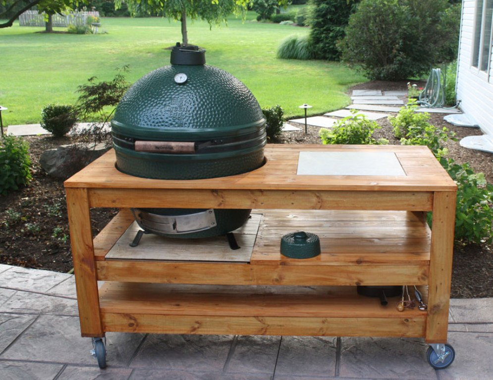 Image of: New Big Green Egg Built In Outdoor Kitchen