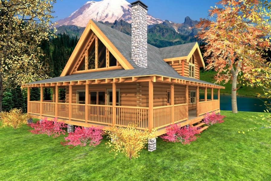 Image of: One Story Log Cabin With Wrap Around Porch